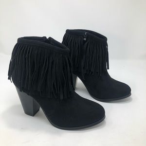 Shoes - Her style Boho Fringe Faux Suede Heeled Booties